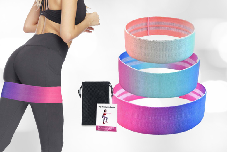 £21.99 instead of £39.99 for a set of three exercise booty bands from Yello Goods – save 45%